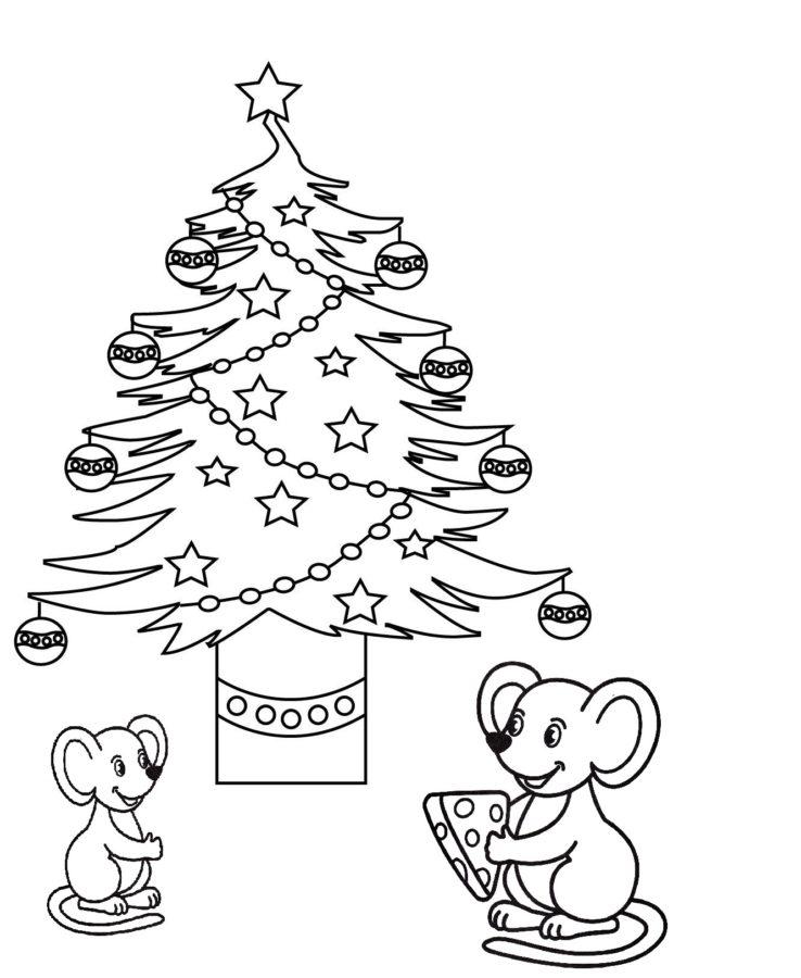 Мышка с ёлкой раскраска