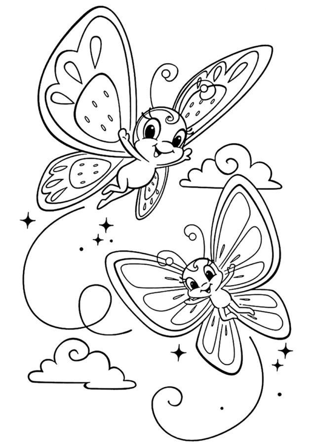 Раскраска 2 бабочки