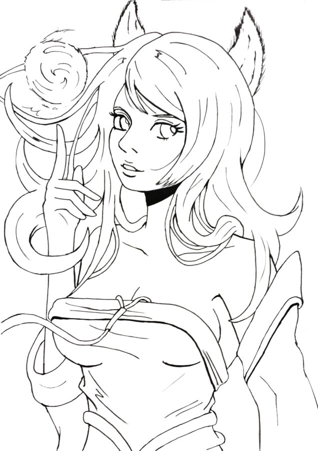 Раскраска аниме лиса
