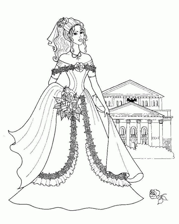 Раскраска барышня в платье