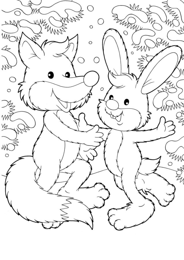 Раскраска братец лис и братец кролик