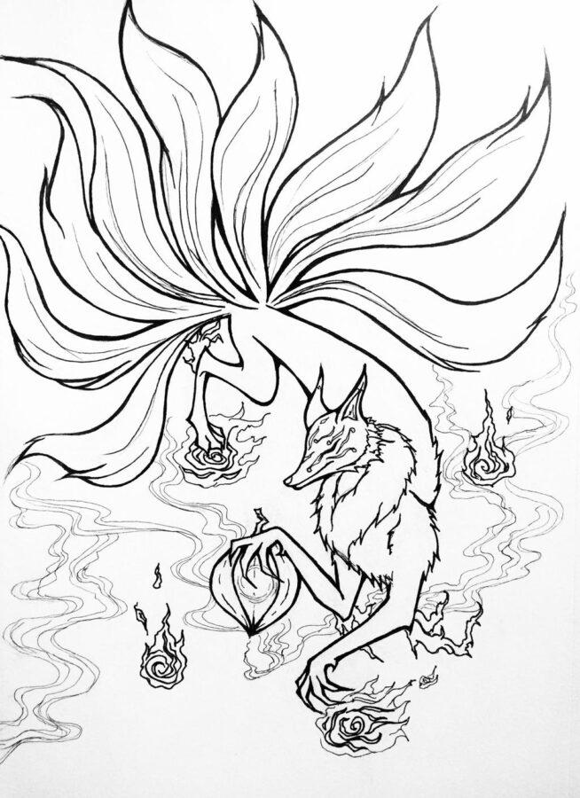 Раскраска девятихвостый лис