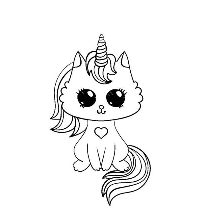 Раскраска кошка единорог