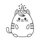 Раскраска котик единорог