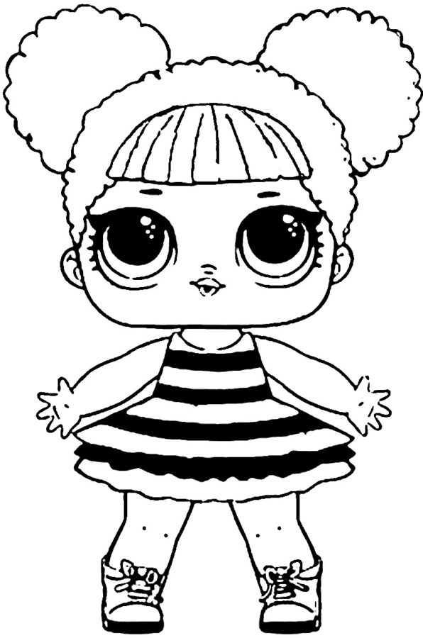 Раскраска кукла лол королева пчел