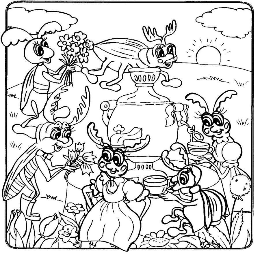 Раскраска Муха Цокотуха