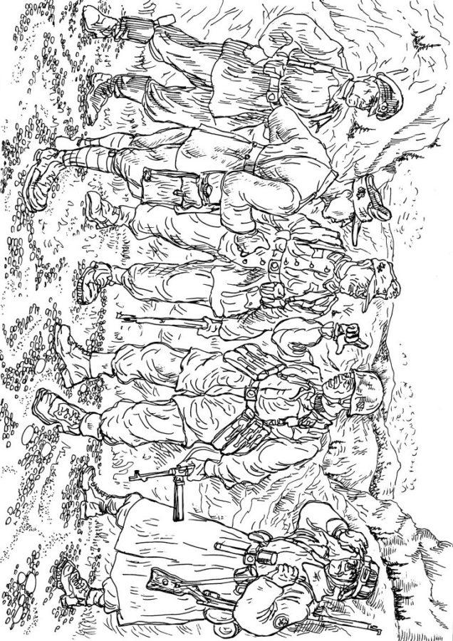 раскраска немецкие солдаты