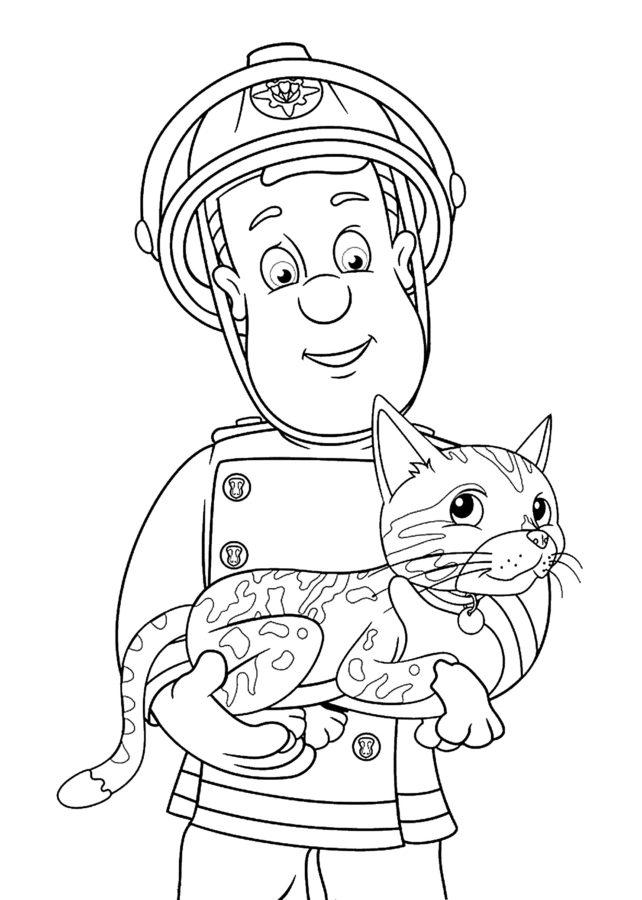 Раскраска пожарный Сэм