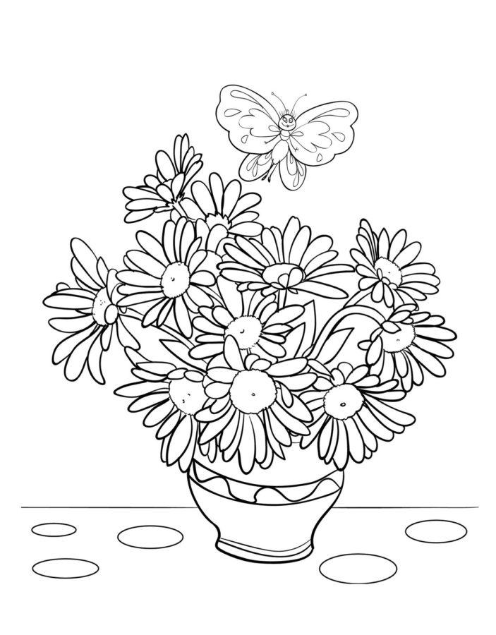 Раскраска ромашки в вазе