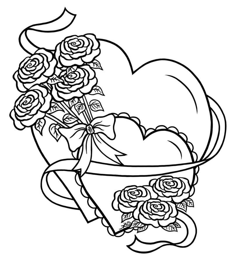 Раскраска розы и сердечки