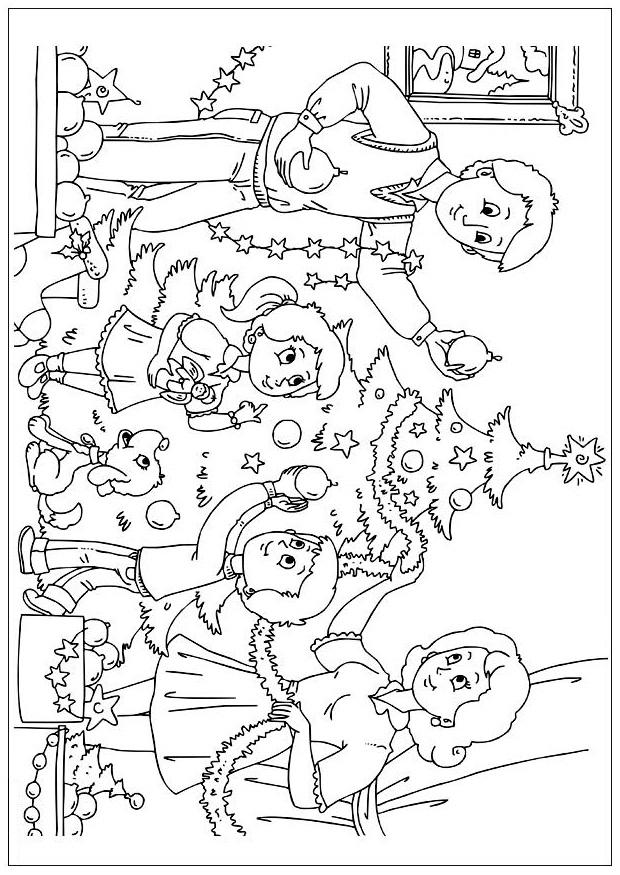 Раскраска семья наряжает ёлку