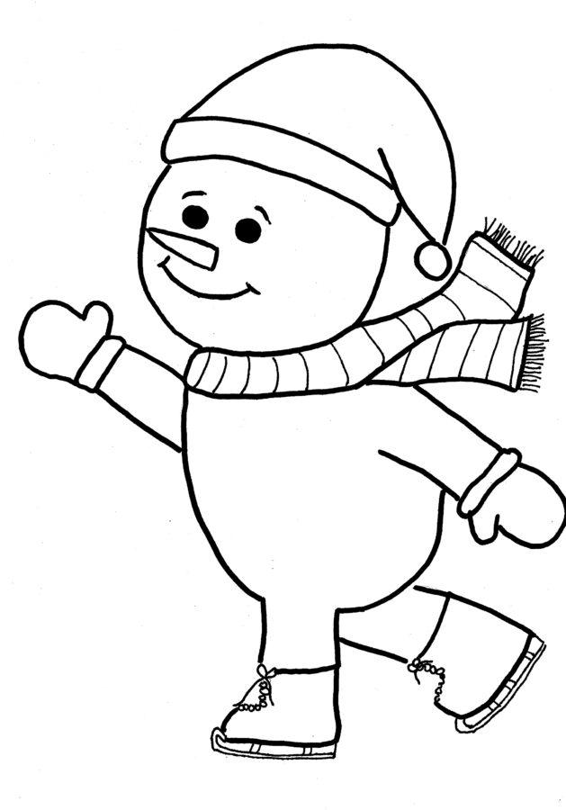Раскраска снеговик маленький