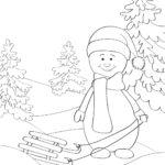 Раскраска снеговик на санках