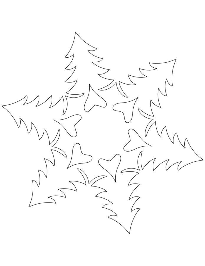 Раскраска снежинки ёлочки