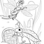 Раскраска стрекоза и муравей