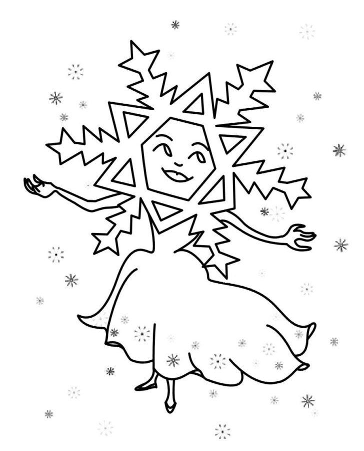 Раскраска танцующая снежинка