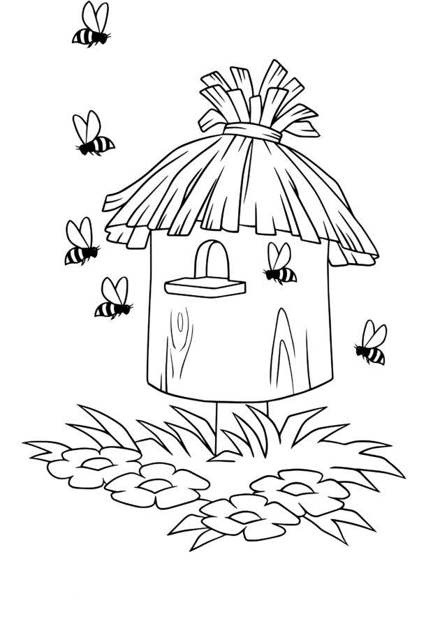 Раскраска улей для пчёл, а вокруг шесть пчёлок