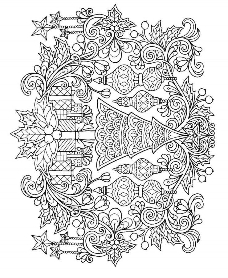 Раскраска узоры ёлка