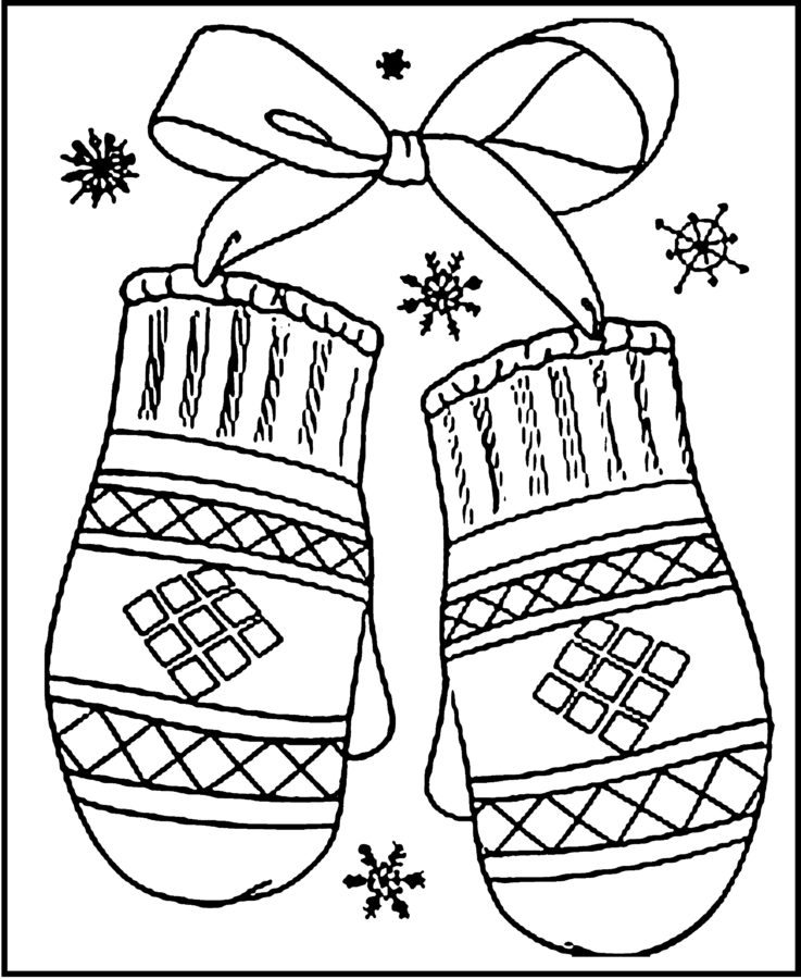 Раскраска варежка со снежинкой