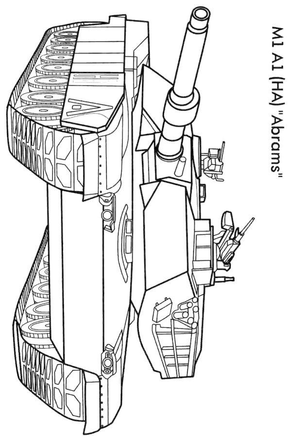 раскраска военный танк Абрамс