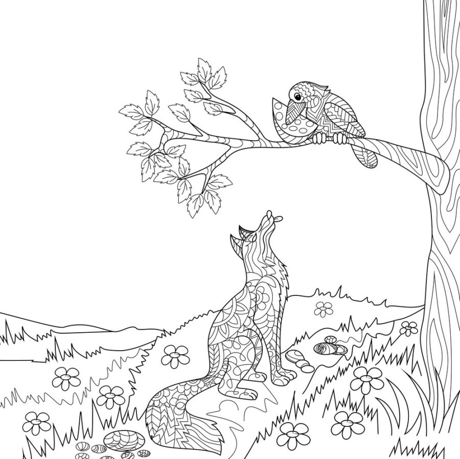 Раскраска ворона и лисица