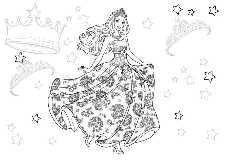 Раскраска принцесса в красивом платьях