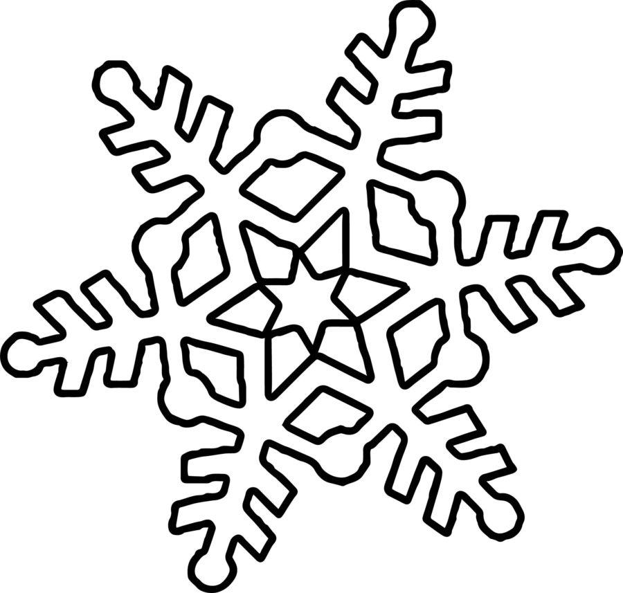 Рисунок раскраска снежинка