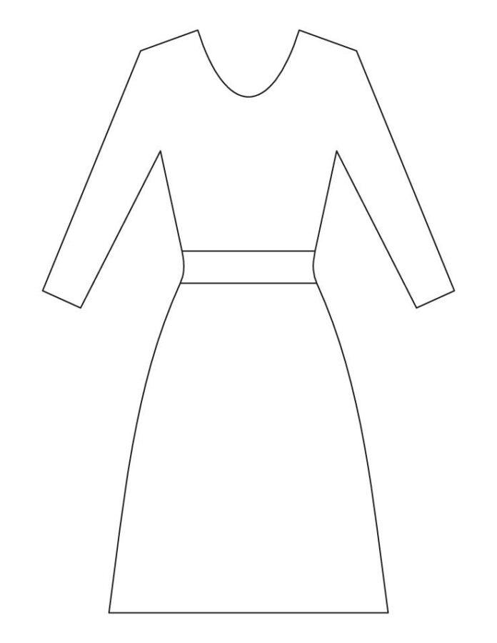 Силуэт платья раскраска