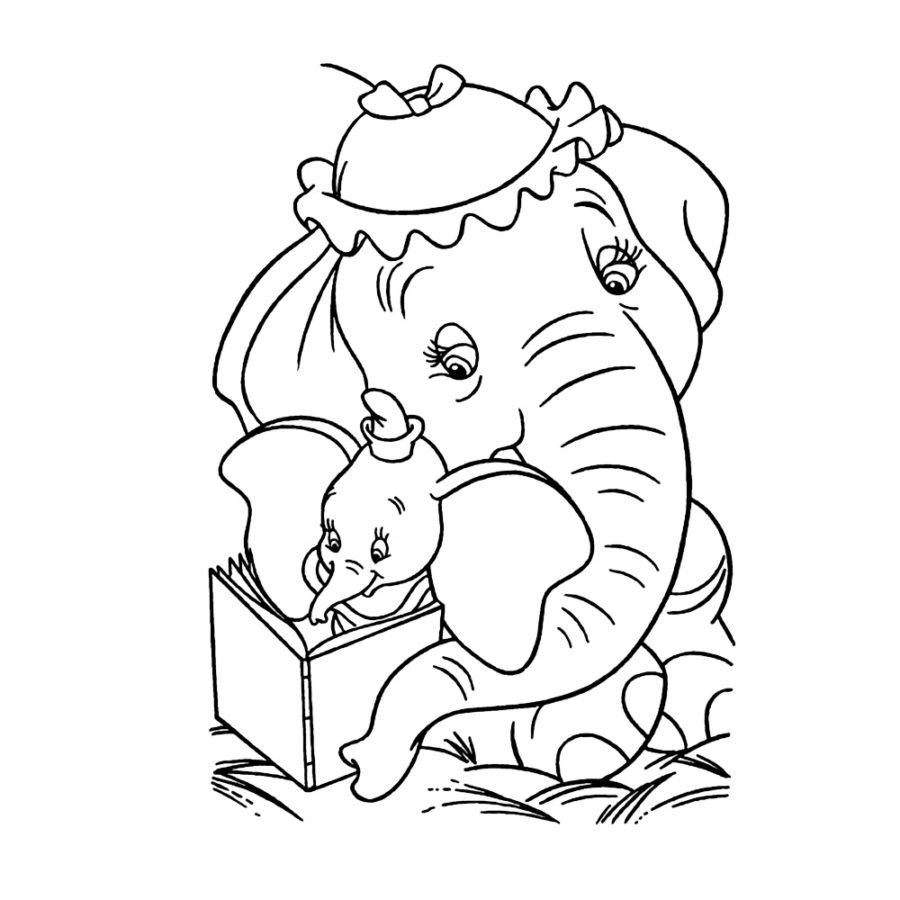 Слониха и слонёнок раскраска