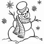 Снеговик милый раскраска