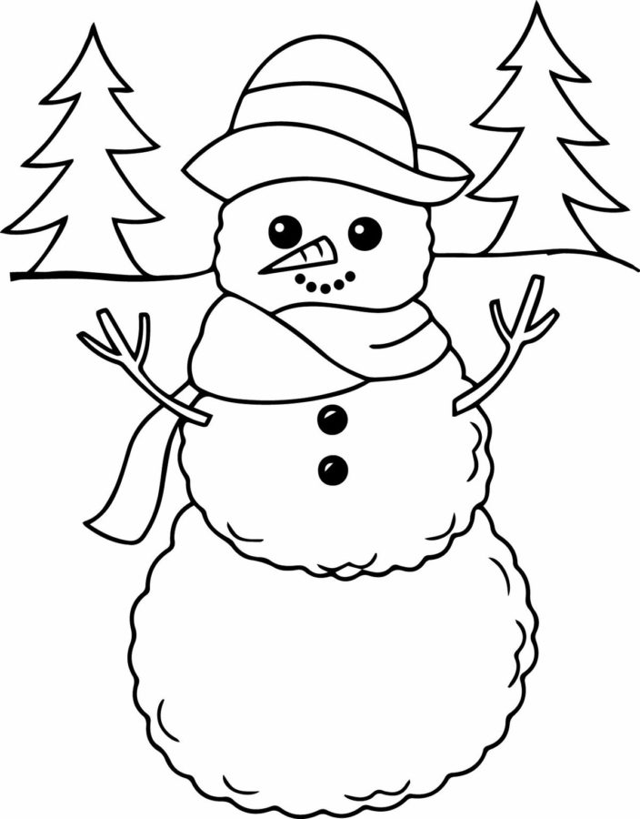 Снеговик в лесу раскраска