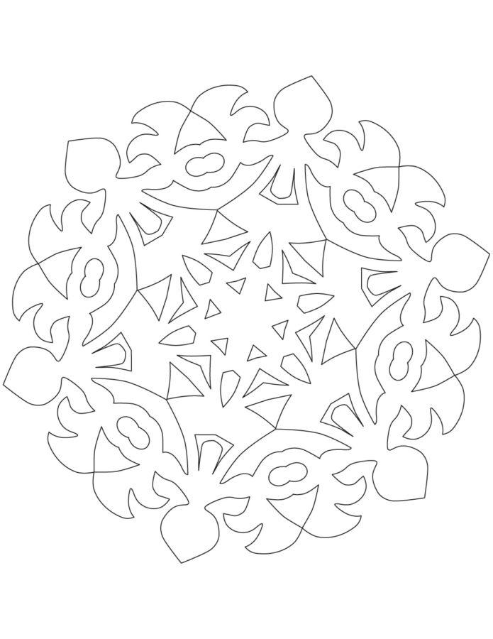 Снежинка раскраска шаблон