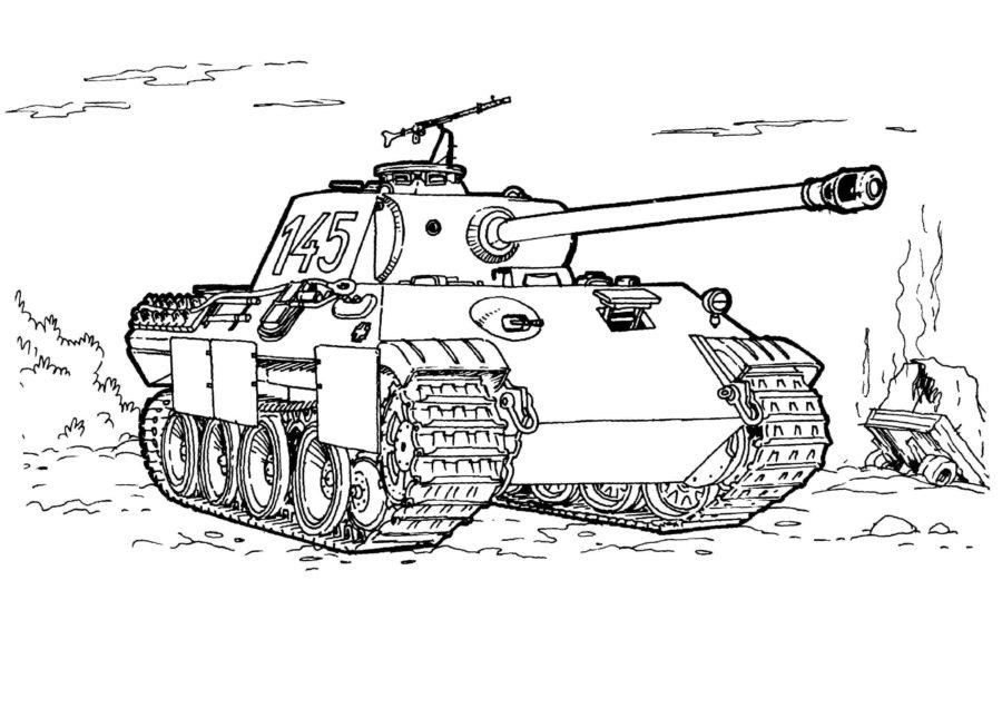 танк пантера раскраска