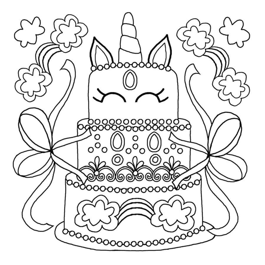 Торт единорог раскраска
