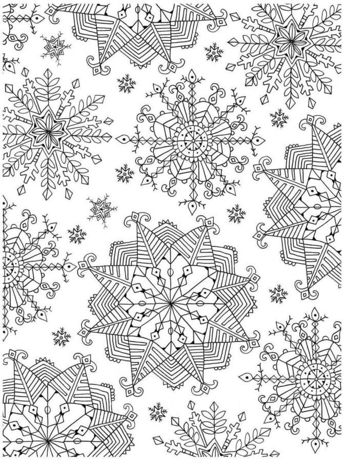 Узоры из снежинок раскраска