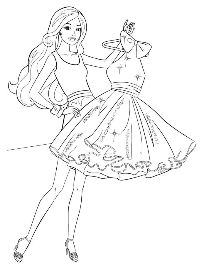 Вечернее платье раскраска